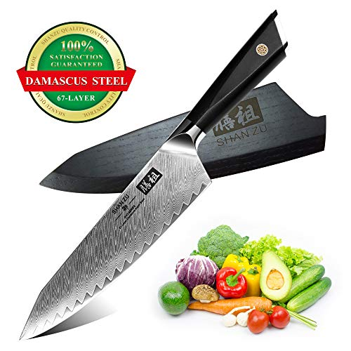 Damast Kochmesser 20cm, SHAN ZU Japanisch AUS10 Damastmesser Stahl 67-Schicht Twill Muster Küchenmesser Professional High Carbon Sharp Messer mit G10 Griff/Geschenkbox - GYO Series