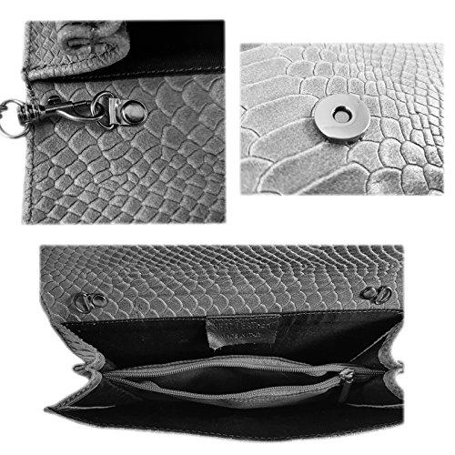25x15cm Clutch Echtleder Snake Metallic Muster Abendtasche Damen ...