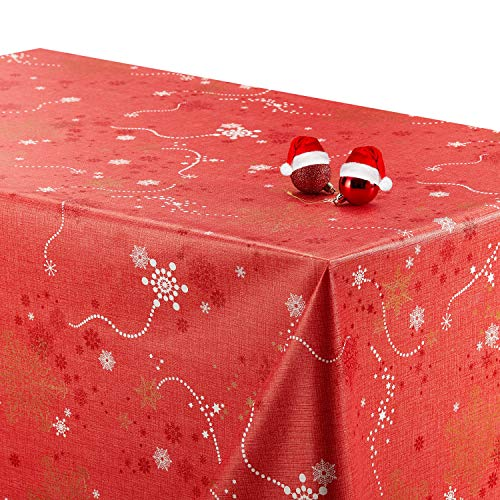 Tovaglia rossa lavabile a tema natalizio. red