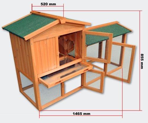 Kaninchenstall mit Auslauf von Wiltec mit rutschsicherer Rampe, Maße: 87 x 65 x 21 cm - 5