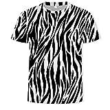 MOTOCO Herren Gestreiftes Kurzarm-T-Shirt mit Kragen und 3D-Streifen und gestreiftem Druck Summer Causal Tees Plus Size XS-2XL Shirt(XL,Weiß-3)