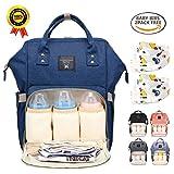 BRIGHTSHOW Baby Wickelrucksack Wickeltasche mit Wickelunterlage Multifunktional Segeltuch Große Kapazität Babytasche Kein Formaldehyd Reisetasche für Unterwegs (Blue)