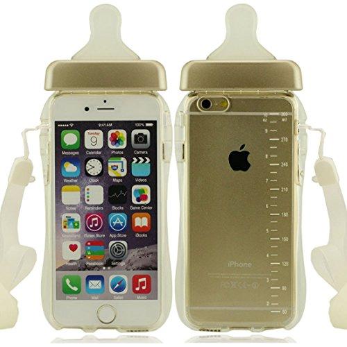 Apple iPhone 7 Plus 5.5 inch Coque Housse de protection Case, Mignon Biberon Forme Serie Très Mince Poids Léger Transparent Clair Doux Silicone Plastique or