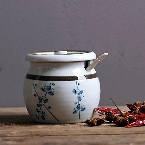 Tarro de condimentos japoneses antiguos de porcelana Vinagrera creativa de la cocina Salero Azucarero Tanque de almacenamiento de pimienta Tarro de cerámica de la especia-R