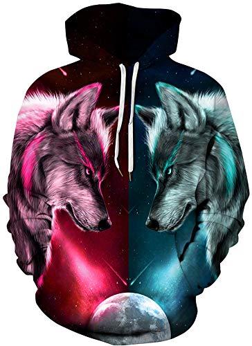 Imbry Herren Slim Fit Hoodie Long Sleeve Kapuzenpullover 3D Druck Muster Sweatshirt Pullover (2XL/3XL, Aurora)