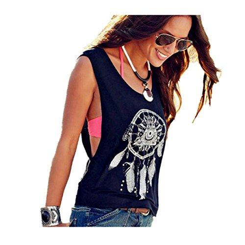 CYBERRY.M Femme Fille Sans Manches Dreamcatcher Imprimé Débardeur Vest Tank T-shirt Top Tee Noir