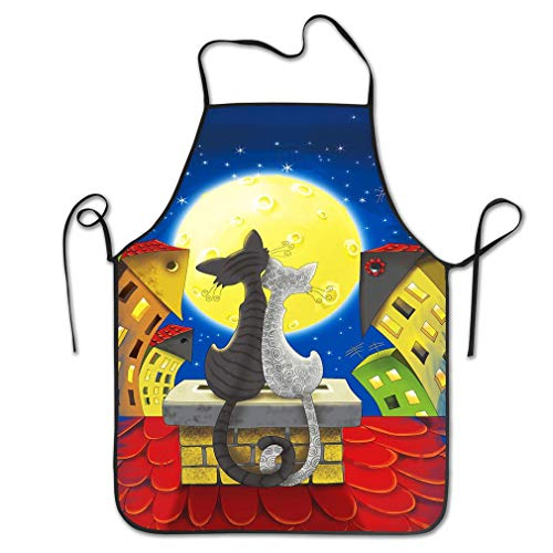 RGFJJE Funny Personality Apron Two Cats roof Sitting Under Moon Houses Color Chef Kitchen Aprons 20.4 * 28.3 inch