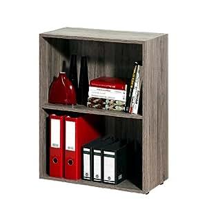 Etagères - Bibliothèque effet bois 2 étages meuble rangement chambre bureau 77c