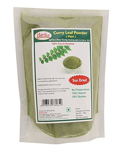 Harika Sun Dried & Stemless Plain Curry Leaf Powder 100G
