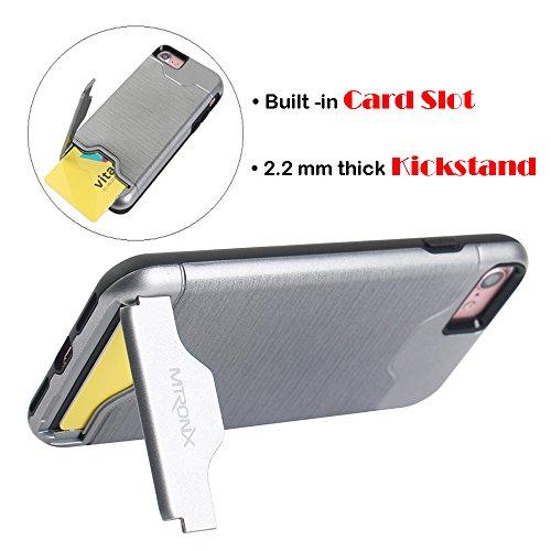 iPhone 6s Hülle, iPhone 6 Hülle, MTRONX [Kartenhalter Card Slot] [Kickstand] Hybrid Schutzhülle Hart PC Weiche TPU Tasche Stoßfest Dual Layer Defender Case Cover für Apple iPhone 6s iPhone 6 - Roségol Grau