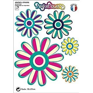 Aquacars.fr Sticker, selbstklebend Blumen Design psykeflowers