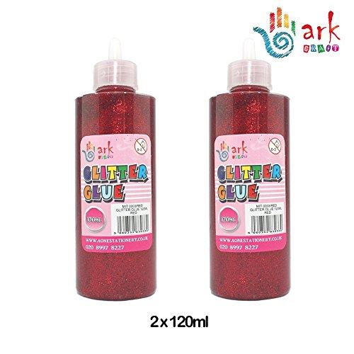 arkCRAFT 2x Ark Brillantini glue-120ml (Rosso), 1