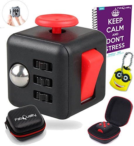 FabQuality-Cube-Anxiety-Attention-Toy-With-BONUS-CASE-eBook-Included-Minion-Key-Chain-Relieves-Stress-And-Anxiety-And-Relax-for-Children-and-Adults-BONUS-EBOOK-is-sent-by-email