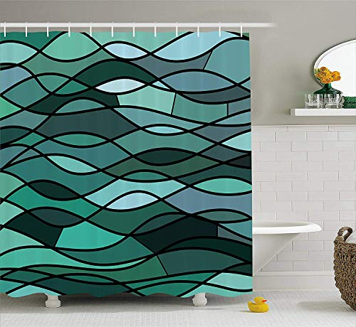 JIEKEIO Teal Shower Curtain, Abstract Mosaic Waves Ocean Inspired Expressionist Pattern Marine Design Image, Fabric Bathroom Decor Set with Hooks, 60 * 72inchs Long, Dark Green Aqua
