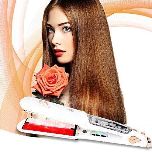 Glätteisen, Megainvo Haarglätter mit Keramik Turmalin Heizplatte und digitalem LED-Display Dual Spannung schnelles Haarstyling mit Dampf- & Infrarot-Heizsystem und 6 Heizstufen,100-240V - 6 Heizstufen