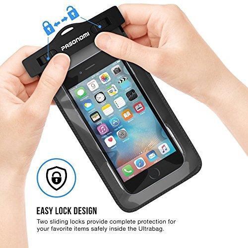 Wasserdichte Hülle,Pasonomi® Universal Wasserfeste Tasche Handyhülle für iPhone SE / 6s Plus / 6 Plus / 6s / 6 / 5s, Galaxy S7 / S7 Edge/S6, Note 5/4, HTC, LG Smartphone unter 6 Zoll (Grün) Schwarz