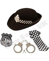 Childrens Kids Girls Police WPC Hat, Badge, Handcuffs & Tie Fancy Dress Accessory