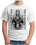 OM3 - JASON-POLICE - T-Shirt HORROR HALLOWEEN MASK SCREAM MOVIE POLIZEI FOTO EMO, XL, weiss