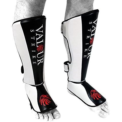 Quijotes Shin empeine Espinilleras ★ MMA UFC Pie Muay Thai Kick Protector ★ Boxeo Gimnasio Kickboxing Sparring - Valour Strike® (Extra Grande)