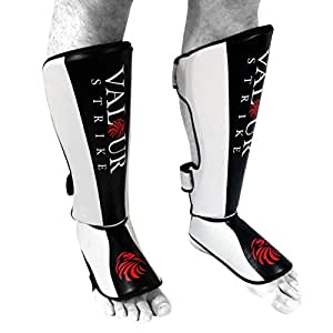 Jambières Shin Instep Pads Pro ★ MMA UFC Pied Muay Thai Coup Protector ★ boxe Fitness Kickboxing Sparring - Valour Strike® (Grand)