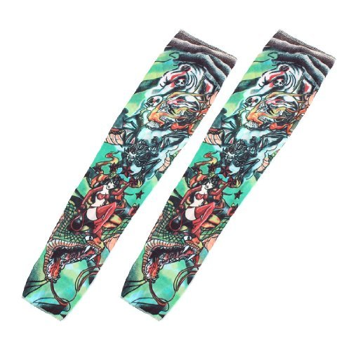 Freak Elastic Christmas Stocking Fake Tattoo Arm Sleeve 2Pcs Colorful