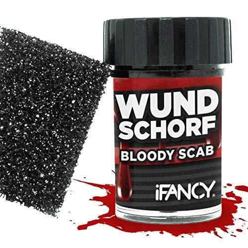 ut mit Schwamm für realistische Wunden - verkrustetes Kunstblut Halloween Karneval Makeup Blutgel ()
