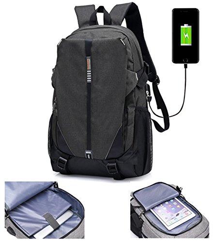 lemongirl Slim Laptop-Rucksack, Laptop Taschen mit Kopfhörer Port und USB Anschlüsse, die Reise BACKPCK für Damen und Herren schwarz schwarz Einheitsgröße