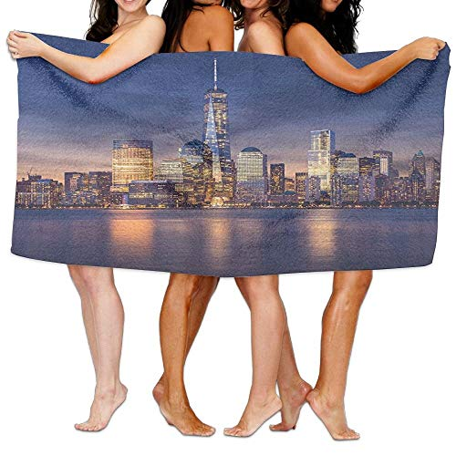 VTXWL New York City Manhattan After Sunset View Picture with Skyline Reflection On The River Soft Fast Drying Beach Towel Pool Towel 30x50