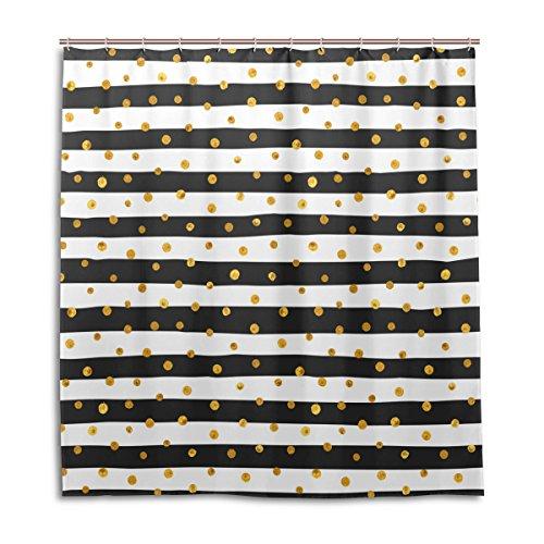 jstel Decor Vorhang für die Dusche Gold Dots weiß Und Schwarz Streifen Muster Print 100% Polyester Stoff 167,6x 182,9cm für Home Badezimmer Deko Dusche Bad Vorhänge mit Kunststoff Haken (Schwarz Stoff Dusche Vorhang Liner)