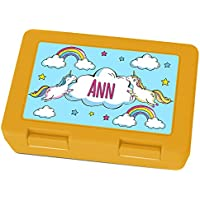 Preisvergleich für Brotdose mit Namen Ann - Motiv Einhorn, Lunchbox mit Namen, Frühstücksdose Kunststoff lebensmittelecht