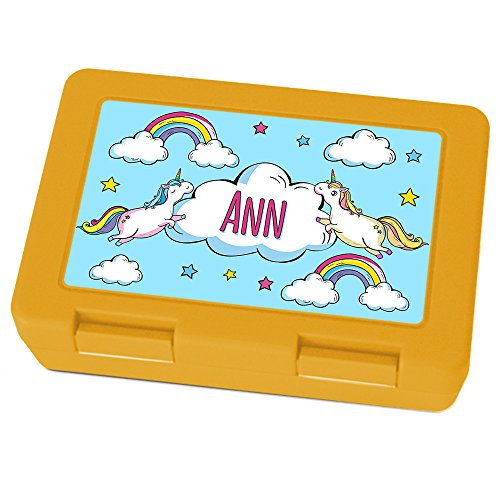 Brotdose mit Namen Ann - Motiv Einhorn, Lunchbox mit Namen, Brotdose Gelb - Frühstücksdose Kunststoff lebensmittelecht