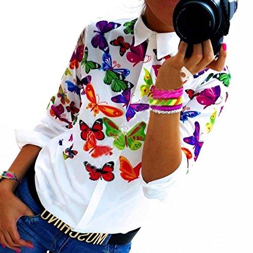 Fanmay Elegant Stylische Frauen Hemden Lange Ärmel Druck Hemd Blouse Weiß (S, Schmetterling)