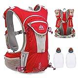 Mochila de paquete de hidratación Triwonder 12L Mochila de hidroterapia de carrera Mochilas trail para correr profesional al aire libre (Rojo - con 2 botellas de agua)