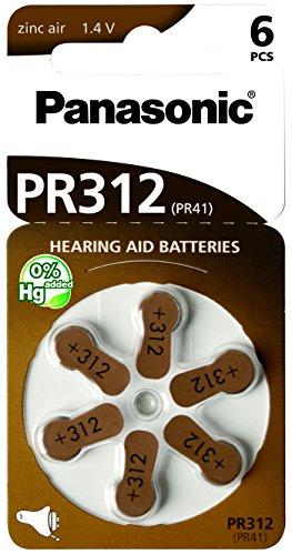 Panasonic PR312 Zink-Luft-Batterien für Hörgeräte, Typ 312, 1.4V, Hörgerätbatterien, 6 Stück, braun (Hörgeräte-braun-batterien)