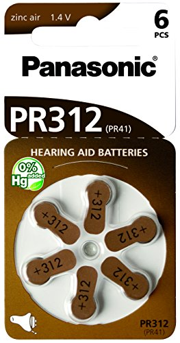 60 Stück (10 Blister) Panasonic Typ 312 Hörgerätebatterie Zinc Air P312 PR41 ZL3 mit 2 Stück LUXTOR® Reinigungstücher für Hörgeräte und Otoplastiken Panasonic Typ