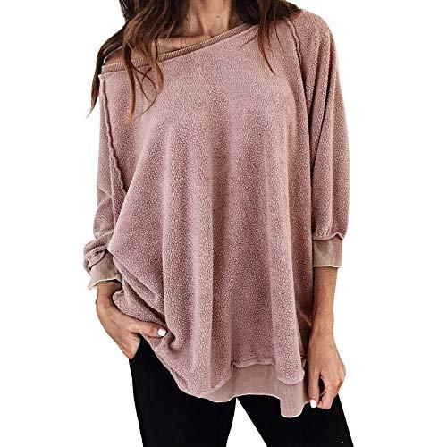 CUTUDE Bluse Damen Mode Langarmshirt Casual Rundhalsausschnitt Sweatshirt Oberteil Frauen Sexy T-Shirt Lose Pullover Tops für Herbst Frühling (Rosa, Medium) (Sexy Teenage Kostüm)