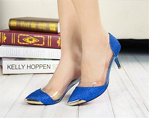 ... Femme Talons Fermé Cm Or Escarpins Haute Sandales Bout Bleu Wealsex 6  Moyen Couleur Paillette xFf7wYBn f65600e22719