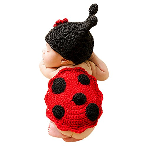 Imagen de happy cherry  disfraces bebés ropa de fotos trajes de fotografía de punto de ganchillo para bebés niños niñas recién nacidos 2 pcs  mariquita