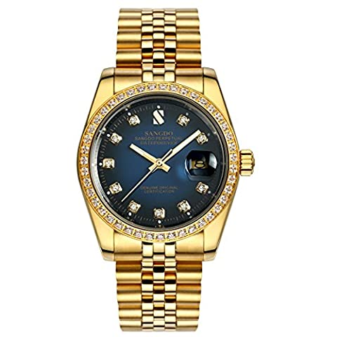 topwatch® sangdo Herren Armbanduhr diamant-verzierte Lünette blaues Zifferblatt 18-K-Gold-Band automatisch,