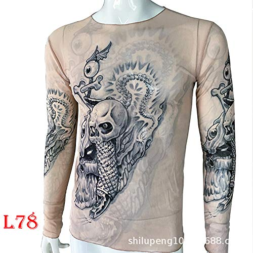 Guardian Frauen Kostüm - tzxdbh Tattoo Tattoo Langarm T-Shirt Damen Fan Digitaldruck Boden Shirt Musik Festival Kostüm L78 78 骷髅 170CM-182CM 60KG-110KG