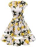 Gardenwed Damen 1950er Vintage Rockabilly V-Ausschnitt Retro Hepburn Stil Cocktailkleid Weihnachten Kleid Lemon Flower L