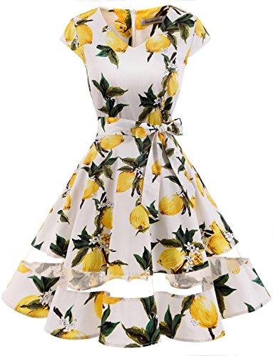 (Gardenwed Damen 50s Retro Schwingen Vintage Rockabilly Knielang Cocktailkleider Partykleider Lemon Flower M)
