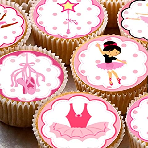 24 Ballet Ballerina Cake Toppers 4cm On wafer rice paper
