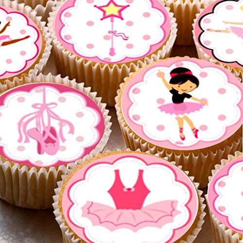 Print4you - Carta di riso per cupcake, motivo: ballerina commestibile, 4 cm, 24 pezzi