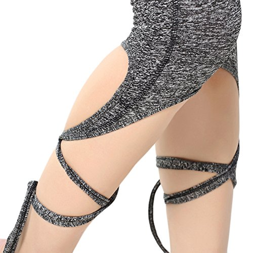 Ming Legging de sport Femme à Séchage Elastique Collant Fitness/Yoga/Jogging Gris