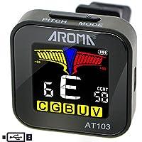 AROMA Clip-on Stimmgerät/Tuner für Stimmgerät Gitarre,Ukulele, Bass,und fast jede akustische oder elektrische Saiteninstrument Chromatische Tuning Power Wiederaufladbare Cents Indikator Pitch AT103