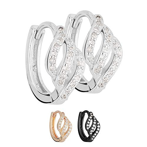Treuheld Creolen Ohrringe - 925 Silber - Geschwungen - Kristalle [02.] - Silber