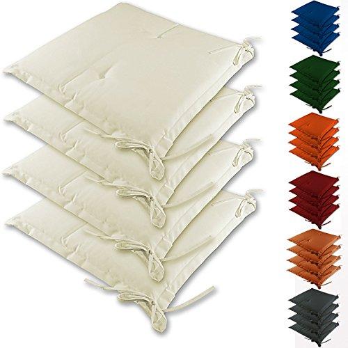 4 Stuhlauflagen Kissen Sitzkissen Stuhlkissen Sidney Hochlehner Auflage Sitzauflage Creme Farbauswahl