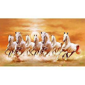 Art Factory Vaastu Seven Horse Canvas Painting Medium