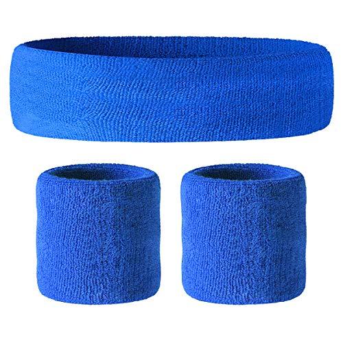 HOTER Sportline Handgelenk Band, Frottee Handgelenkband, Schweißband, Schweißband (Preis für 1Stück), A3-Royalblue(1Headband+2Wristbands)